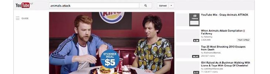 Comerciais Temáticos criados pelo Burguer King satirizando os comerciais do Youtube